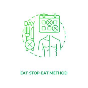 Eat-stop-eat method dark green concept icon