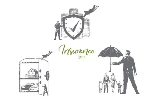 Insurance firm service concept sketch