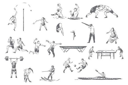 Summer sportive activities concept sketch