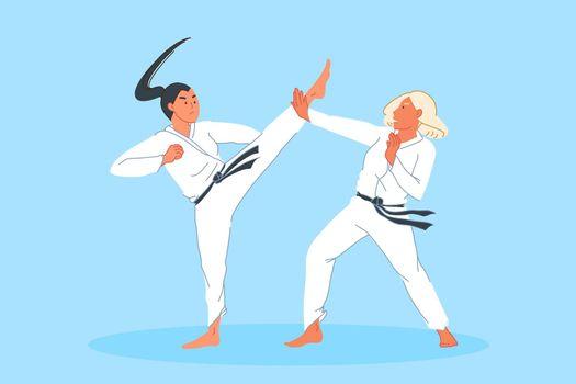 Sport competition, combat, athlete training, martial arts concept
