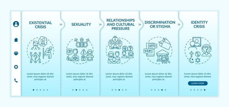 Religious issues onboarding vector template