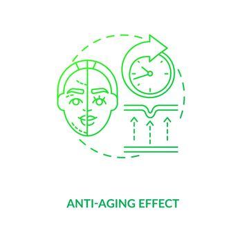Anti aging effect dark green concept icon