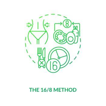 The 16-8 method dark green concept icon