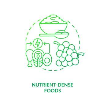 Nutrient dense foods dark green concept icon