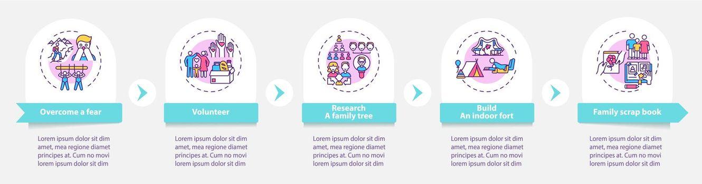 Family bonding tips vector infographic template