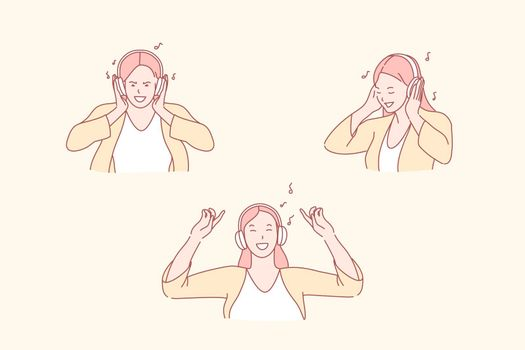 Listening to music, dance and relaxation, enjoyment concept