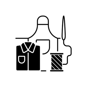 Work clothes repair black linear icon