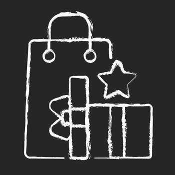 Earn reward points chalk white icon on black background