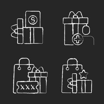 Purchase discounts and cashback chalk white icons set on black background