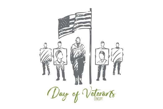 Veteran day concept sketch. Isolated vector illustration