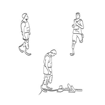 physically disabled male athlete with prosthetic legs  illustration vector isolated on white background line art.