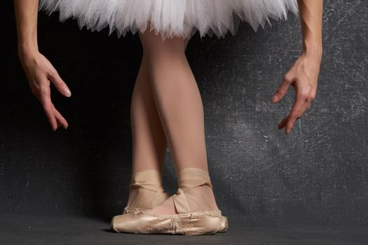 feet in ballet flats performing ballerina traditional dance