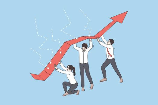 Diverse employee team show teamwork during company crisis