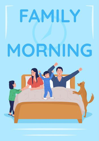 Daily parent routine poster flat vector template