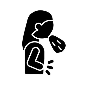 Nausea and vomiting black glyph icon