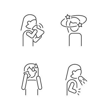 Panic disorder symptoms linear icons set