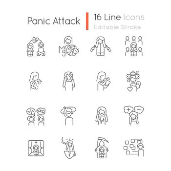 Panic disorder linear icons set