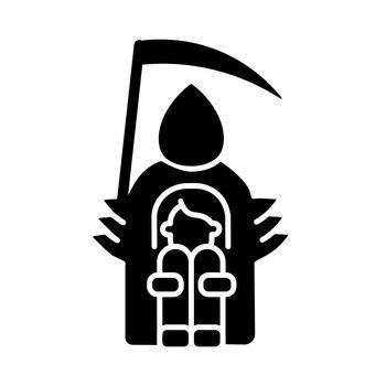 Fear of death black glyph icon