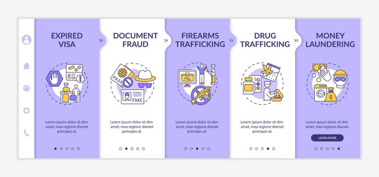 Deportation causes onboarding vector template