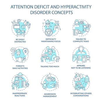 Attention deficit and hyperactivity disorder concept icons set