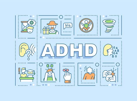 Attention deficit hyperactivity disorder word concepts banner