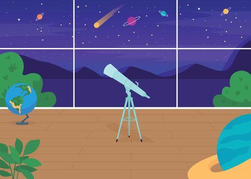 Astronomical observatory flat color vector illustration