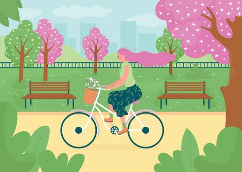 Spring recreational activity flat color vector illustration