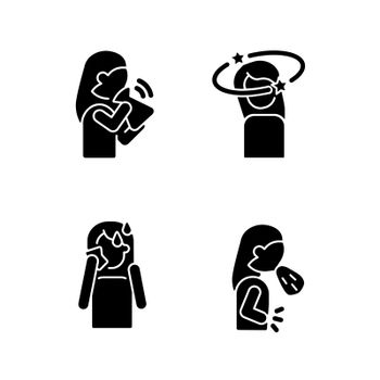 Panic disorder symptoms black glyph icons set on white space
