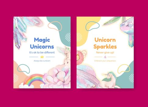 Cover template with unicorn concept,watercolor style