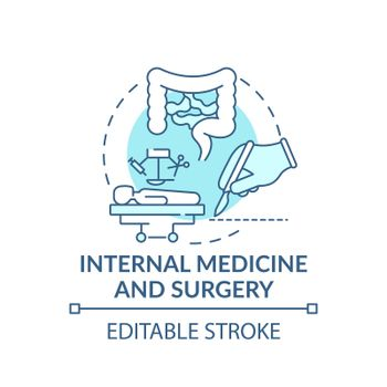 Internal medicine and surgery blue concept icon