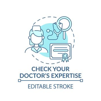 Check your doctor expertise blue concept icon