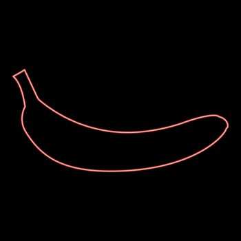 Neon banana red color vector illustration flat style image