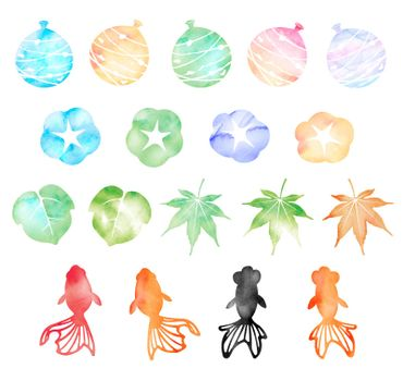 Summer motif watercolor painting illustration set for summer greeting card etc.
