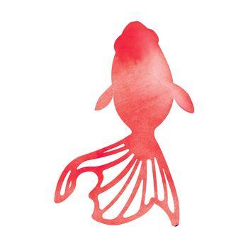 Summer motif watercolor painting illustration for summer greeting card etc. | goldfish
