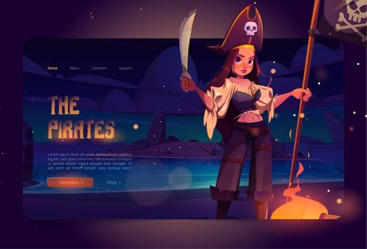 Girl pirate on night beach cartoon landing page
