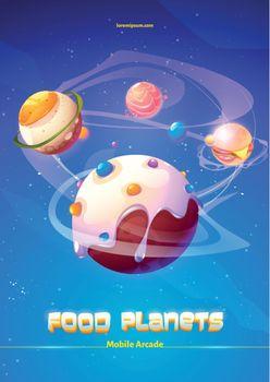 Mobile arcade food planets adventure, galaxy world