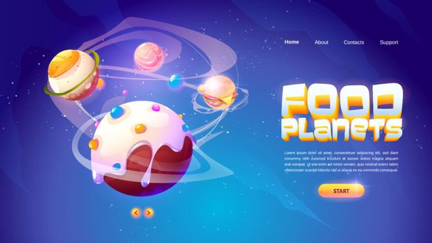 Food planets banner of space arcade game