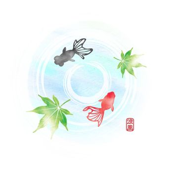 Summer motif watercolor painting illustration for summer greeting card etc. | Pond and goldfishes