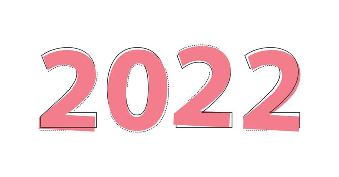 number 2022 in the style of comics. The new year is 2022. Merry Christmas and Happy New Year. Vector illustration.