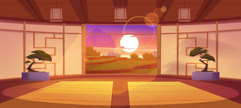 Japanese dojo interior at sunset