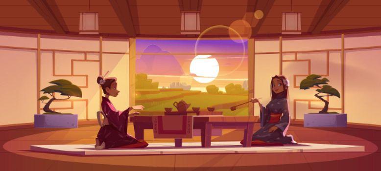 Tea ceremony in dojo room with peaceful landscape