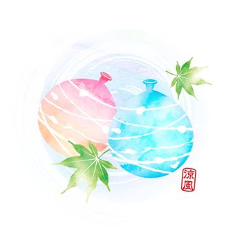 Summer motif watercolor painting illustration for summer greeting card etc. | water balloons