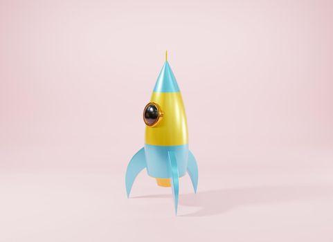 Rocket spaceship antique style, Model cartoon toy space exploration icon
