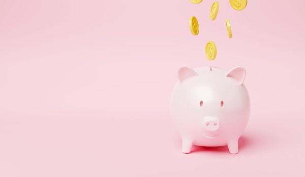 Piggy bank with coin money raining falling to piggy on pink background