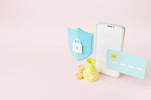 Secure mobile banking with credit card and lock shaped icon