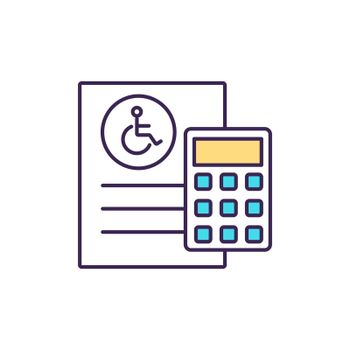 Disability insurance cost RGB color icon