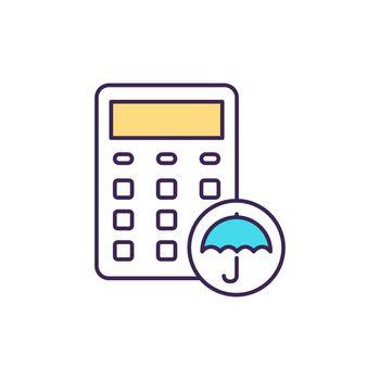 Disability insurance calculator RGB color icon
