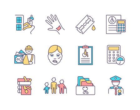Disability insurance RGB color icons set