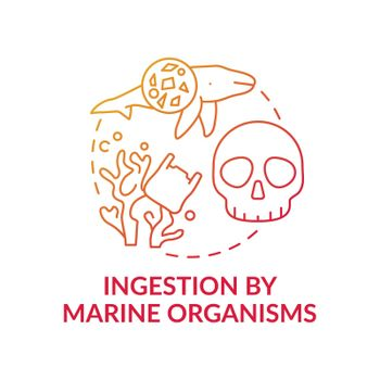 Ingestion by marine organisms concept icon