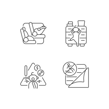 Accidents prevention linear icons set